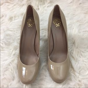 Vince Camuto • Tan Patent Pumps